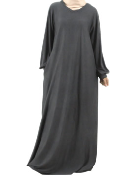 Plain Jersey Abaya with elasticated cuffs.