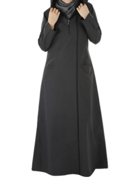 Leisure Abaya - Off Black with Charcoal Stripe