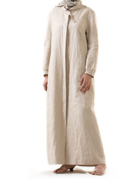 Abaya in ramie cotton with pockets