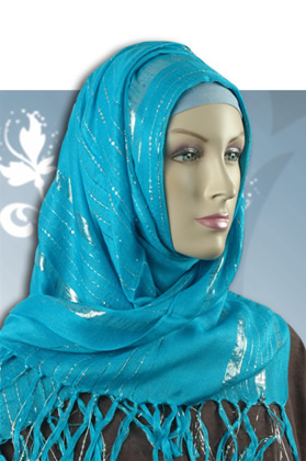 Metallic threads & lightly sequined hijab Scarf